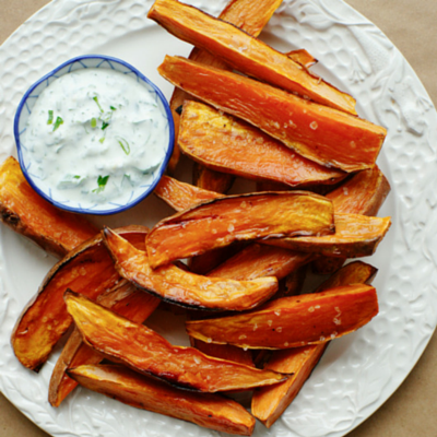 Homemade sweet potato chips (complex carbohydrate, yellow light)